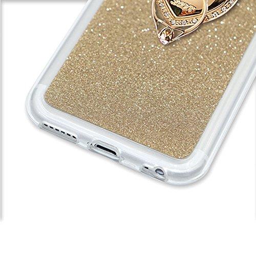 Für iPhone 7 4.7 Zoll Ultra Dünn Silikon Tasche,Für iPhone 7 4.7 Zoll Bling Glitter Schutz Hülle mit Liebe Herzen Ring Halter,Funyye Luxus [Herzen Ring Rosen-Gold Gradient Farbe] Sparkles Glänzend Gli Ring Holder #2
