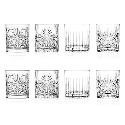 RCR Kristall Mixology Cut Glass Double Old Fashioned Whisky Tumblers - 340ml - Set von 8 Whisky-Glas (Whiskey Cut Glas)