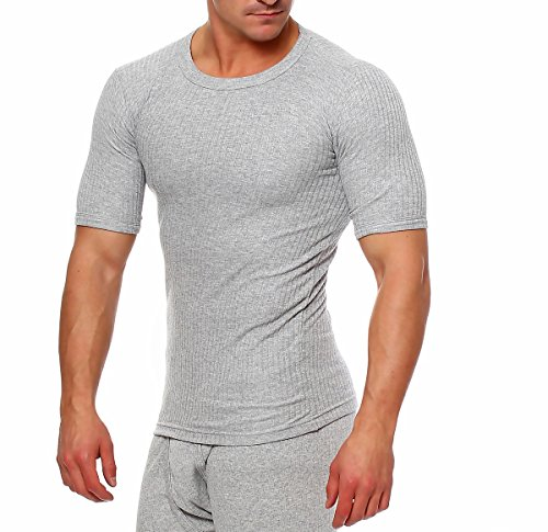 Thermohemd ○ Thermounterwäsche Extrem Warm ○ Hemd Shirt Herren T-Shirts Langarm Kurzarm ○ Hemd Männer Unterhemden ○ Thermounterwäsche Herren von SGS (L, Hellgrau) (Kurzarm-unterhemd)
