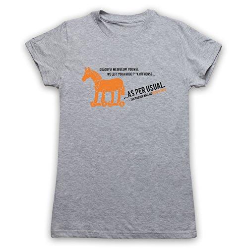 Inspiriert durch Eddie Izzard Trojan War Unofficial Damen T-Shirt Grau