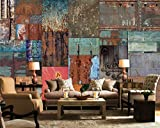 Keshj Benutzerdefinierte 3D Tapete Wandaufkleber Retro Persönlichkeit Puzzle Eisen Wandmalerei Dekoration Bar Sofa Hintergrund Wand-120Cmx100Cm