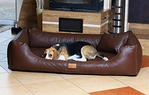 tierlando Lit orthopédique pour chien Maddox Ortho VISCO en similicuir Canapé pour Chien Panier pour chien gr. XXL 150 cm brun