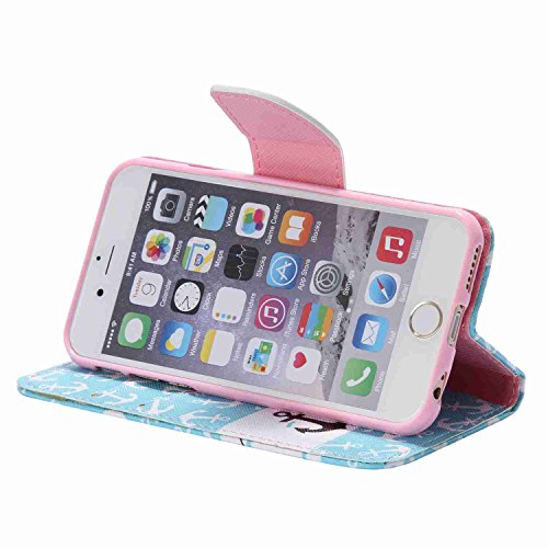 Guran® PU Leder Tasche für Apple iPhone SE / iPhone 5/5S (4 Zoll) Smartphone Flip Deckung Stehen Funktion und Karte Slot Case-Anchors color13