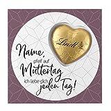 Lindt Muttergtags-Karte - Süße Grüße - Grußkarte für Ihre Mama inkl. Lindt Schokoladen-Herz mit Ihrem Wunschnamen
