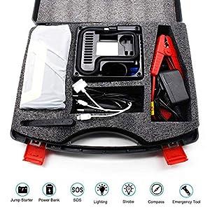 Womdee Arrancador de Coche, Portatil Jump Starter de 20000mAh 1000A(para 5.0L de Diesel o 6.0L de Gasolina) 8 Piezas Arranque bateria Coche para Moto,Tractor,Barco,Furgoneta y Camiones