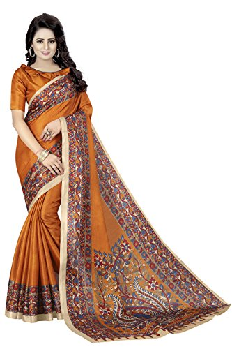 Indian Women's Art Silk Kalamkari and Bhagalpuri Style Sari with Blouse Piece KALAMKAARI 3 Mustard Sari