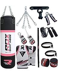 RDX Damen Boxsack Set Gefüllt Kickboxen MMA Muay Thai Boxen mit Deckenhalterung Stahlkette Training Handschuhe Kampfsport Schwer Frauen Punchingsack gewicht 4FT Punching Bag