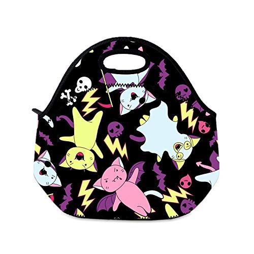 Kawaii Lunchbox für Mädchen, Halloween, Katzen und Kreaturen, Lunchbox, Picknick-Tasche, wiederverwendbar, für Damen und Kinder