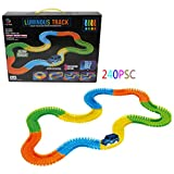 Lagand LED Glowing Racing Set Kids 240pcs Race Track Car Children Toys Bend Flex Glow
