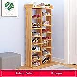 CLEAVE WAVES 8-stufige Verbreiterung Nussbaum Farbe Schuhregal mit Schublade Schuhregal Aufbewahrungsbox Organizer für 14 Paar Schuhe