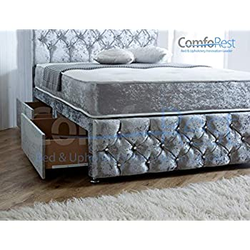 Under Storage with Mattress & 2 Drawers, Ibex Plus Extra, Crushed Velvet Divan Bed (Double - 4'6, Ice Silver)