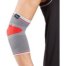Órtesis codera deportiva con almohadillas de silicona Actesso – Órtesis de lujo para esguinces y distensiones deportivas (Pequeña, Rojo)