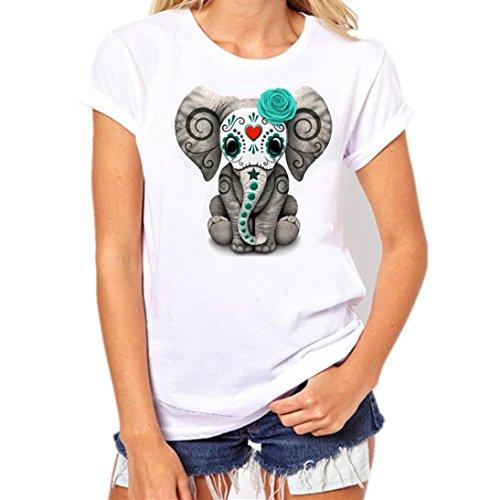 Tefamore Frauen Plus Size Grauer Elefant Printing Tees Shirt Kurzarm T-Shirt Bluse (XL)