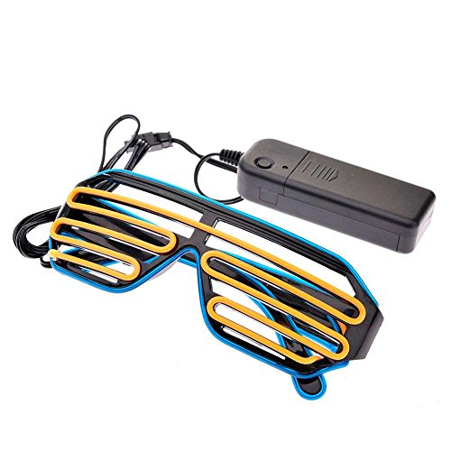 FOONEE LED Party Shutter Shades Brillen, Control Box Neon EL Draht Light bis Schlitz Shutter Dual Farbe Brillen für Weihnachten Halloween Wild Party, Dance Ball, Night Clubbing Bonfire Gelb/Blau