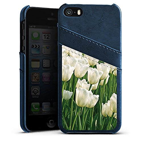 Apple iPhone 5s Housse Étui Protection Coque Tulipes Fleurs Fleurs Étui en cuir bleu marine