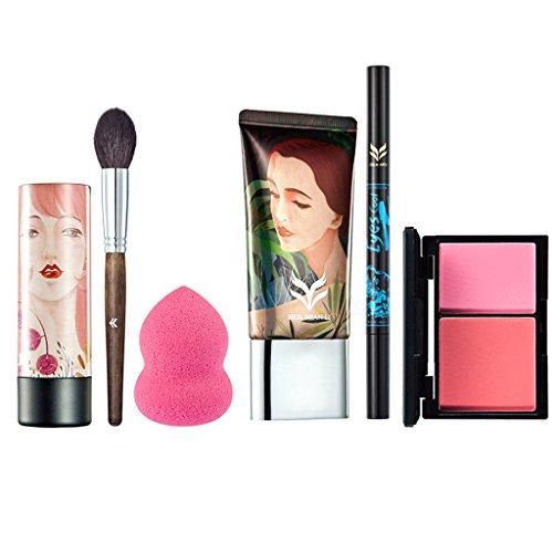 MagiDeal 6 en 1 Crème de Fondation + Rouge à Lèvres Pigmenté + Palette de Blush + Stylo à Sourcils / Eye Liner + Houppe Fond de Teint + Pinceau de Maquillage