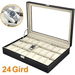 24 Slots Grids Wrist Watch Display Box Windowed Case Holder Organizer