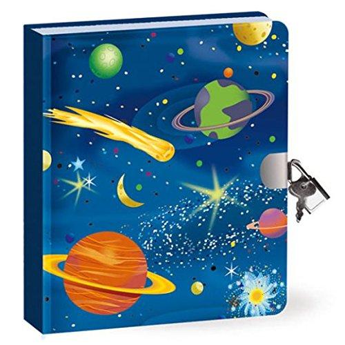 Geheimnis Tagebuch - Weltraum - leuchtet im Dunkeln - 200 Seiten mit Schloss und Schlüssel - Größe 160mm x 140mm