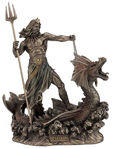 Poseidon Griechischer Gott des Meeres auf Seeungeheuer Figur bronziert Skulptur