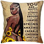 EZYES African American Couple Pillow Protector Black Girl Painting Art Throw Pillow Cover Home Decoration 18x1