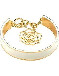 Front Row pulsera mujer color de oro rosa de esmalte color de crema