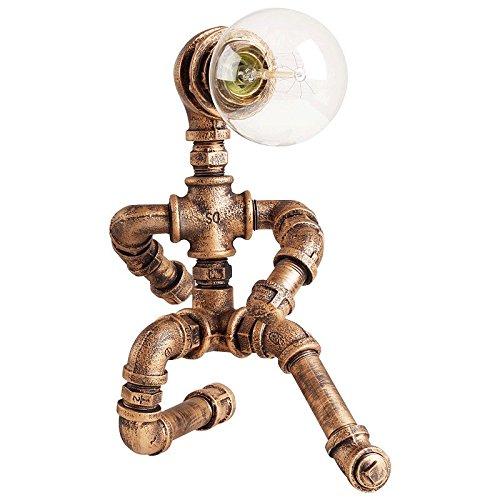 Crayom Vintage Rustic Steampunk Luz de la lámpara de mesa, tubo de agua Lámparas de escritorio para el bar, club, dormitorio, sala de estar, Hotel, cafetería Altura 30cm ( Color : A )