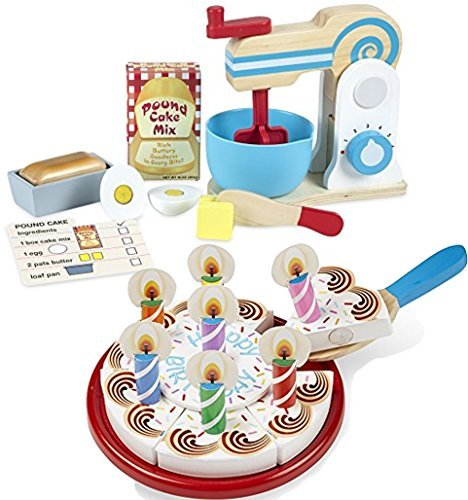 Melissa Doug and Melissa Doug Bundle Includes 2 Items - Melissa & Doug Wooden Make-a-Cake Mixer Set - Play Food and Kitchen Accessories and Melissa & Doug Birthday Party Cake - Wooden Play Food With Mix-n-Match Toppings