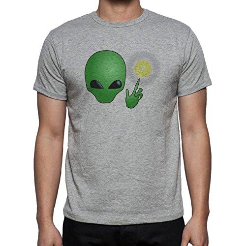 Alien Space Extraterrestrial UFO Head Sun Herren T-Shirt Grau