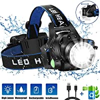 HOKEKI Headlamp, USB Rechargeable LED Head Lamp, Adjustable Headband 4 Modes Grade, IPX4 Waterproof for Jogging, Hiking, Dog Walking, Hunting
