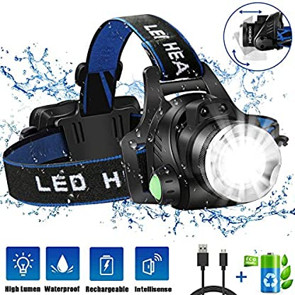 HOKEKI Headlamp, USB Rechargeable LED Head Lamp, Adjustable Headband 4 Modes Grade, IPX4 Waterproof for Jogging, Hiking, Dog Walking, Hunting 1