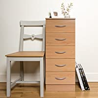 Home Treats Tall Chest Of 5 Drawers Bedroom Furniture In Black White Beech