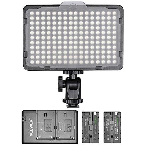 Neewer Panel de luz 176LED Regulable con Unidades batería de Litio 2600mAh Cargador Doble a USB para réflex Digitales Canon Nikon etc. para grabación de Vídeo en Estudio fotográfico