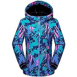 Femmes Encapuchonné Softshell De Plein air Imperméable Camouflage Veste de Ski Randonnée Manteau Bleu M