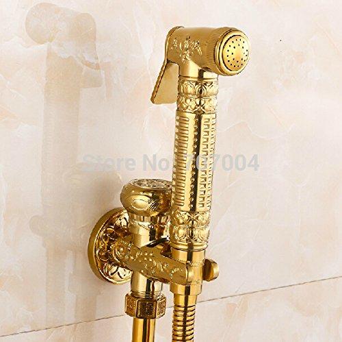 5151buyworld Top Qualität Wasserhahn Wand montiert Messing Bidet Wasserhahn Golden Farbe Badezimmer WC-Spritze Wasserhahn Handheld Flush faucetfor Badezimmer Küche Home Gaden (begriffsklärung), chrom, - Flush Spritzen