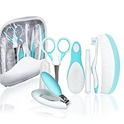 KYG 7tlg Babypflege Set mit alltäglichen Babypflegeartikels im Etui für Baby Neugeborene Pflege Blau