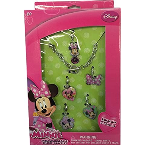 Disney Minnie Mouse Interchangeable Toggle Charm Bracelet Jewelry Gift Set with ADORABLE Necklace and 5 Charms by Minnie Mouse