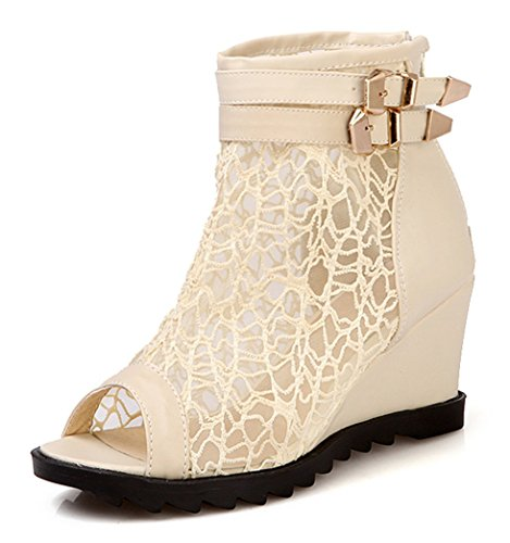 Toe Mit Sandalen Schuhe Keilabsatz Boots Plateau Sommerstiefel Ankle Peep Spitze Out Beige Leder Damen YE Schnalle Cut Wedges wHEPxv