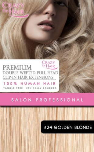 Premium Extensions de cheveux humains - Double wefted Clip-in 22\