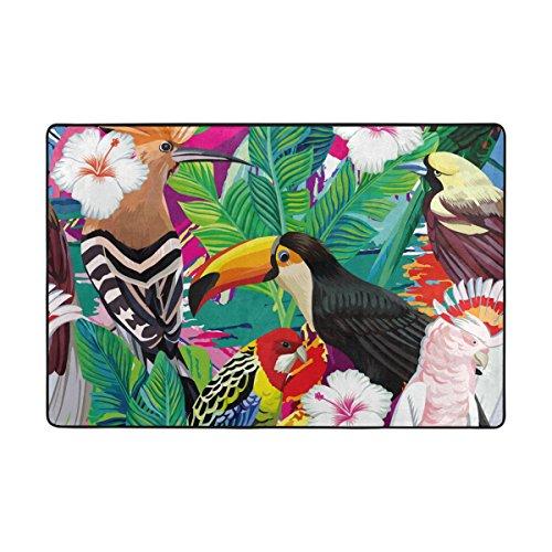lianchenyi bunten Vogel Party Tukan Papagei mit rutschfesten Fußmatte Bereich Teppich Teppich Fußmatten Fußmatte Indoor Outdoor Badezimmer 182,9x 121,9cm (Outdoor-teppich Tropical)