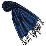 Lorenzo Cana Luxus Seidenschal für Frauen Schal 100% Seide gewebt Damenschal elegant Paisley Muster Ton in Ton dunkelblau blue 7841177