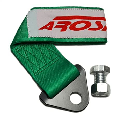 AROSPEED GREEN TOW STRAP Kit High Tensile Strength Heavy Duty Steel and Polyester 10,000 LB Pound Rating Front Rear Universal JDM for Honda Acura Civic Fit Prelude Integra RSX Accord S2000 Si TSX CL TL GSR LS EK9 EK EG EF EJ1 EM1 EF9 FG2 DC2 SOHC DOHC B16 D16 B18 B20 H22 F22 LS VTEC K20 K24 EX DX LX Si SiR Si-R
