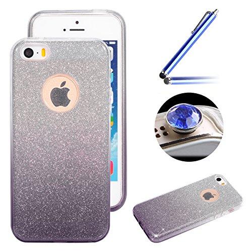 Etsue Glitter Silikon Schutzhülle für iPhone 6 Plus/6S Plus TPU Case, Bling Glitter Abnehmbare ultradünne Galvanotechnik TPU Bumper Case Sparkles Glänzend Glitzer Silikon Crystal Case Durchsichtig Sof Gradient,schwarz lila