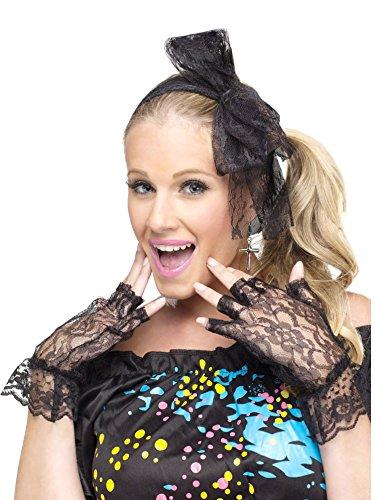 80s Pop Star Instant Kit Costume Accessory Set - Lace Headband, Gloves, Earrings