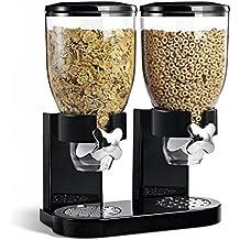 New 500 G doble dispensador de cereales recipiente de almacenamiento de alimentos secos negro cocina soporte