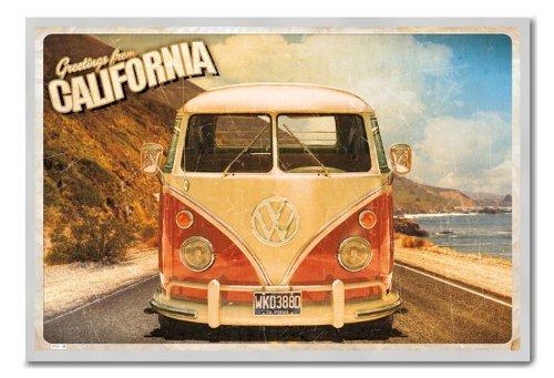 Camper VW California Postcard poster magnetico bacheca Argento con cornice-96.5x 66cms (circa 96,5x 66cm)