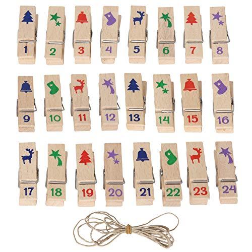 Bartl 111943 Holz-Klammern Set incl. Schnur mit Nummern zum Adventskalender selber basteln für Säckchen oder Papierboxen