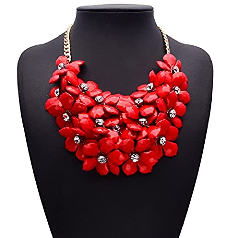 Alloy Short Necklace Chain Closure Chain Flower Diamond Necklace Female Accessories,Red-OneSize