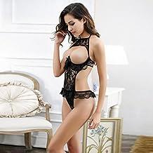 Vovotrade Biancheria sexy delle donne petto un file aperto biancheria intima (nero)