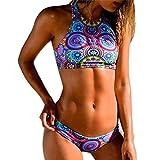 OverDose Frauen Bikini Set Bandage Push-Up gepolsterter BH Strand Bademode Damen Badeanzug Badeanzüge(A-Multicolor ,S)