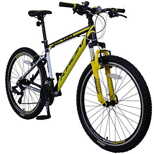 KRON XC-100 Hardtail Aluminium Mountainbike 26 Zoll, 21 Gang Shimano Kettenschaltung mit V-Bremse | 16 Zoll Rahmen MTB Erwachsenen- und Jugendfahrrad | Schwarz & Gelb